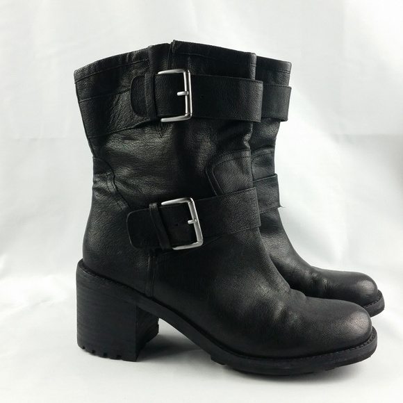 a8f346504 Sam Edelman Shoes - Sam Edelman Black Leather Moto Boots 8.5W